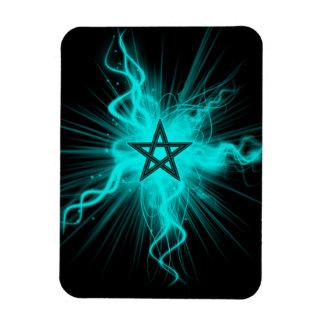Blue Neon Glowing Pentagram - Pagan Symbol Magnet
