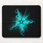 Blue Neon Glowing Pentagram - Pagan Symbol Mouse Mat