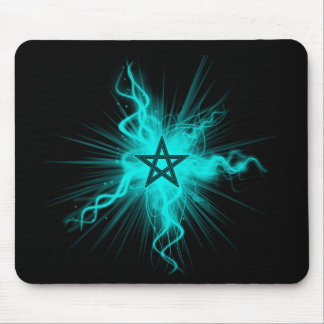 Blue Neon Glowing Pentagram - Pagan Symbol Mouse Pad