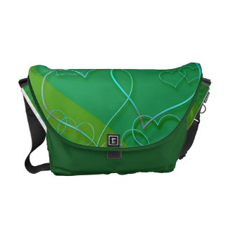 Blue Neon Hearts On Green Messenger Bags