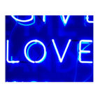 Blue Neon Love SIgn Postcard
