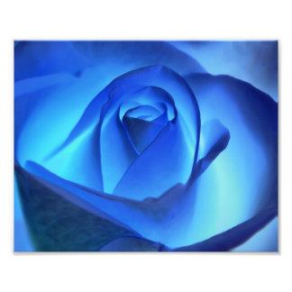Blue Neon Rose Photograph