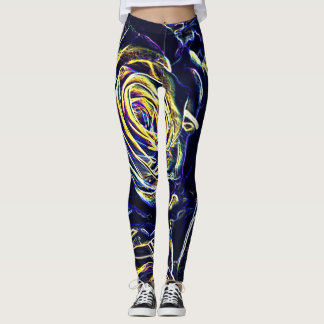 Blue Neon Roses Leggings