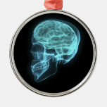 Blue Neon Side View X-ray Skull on Black Christmas Ornament