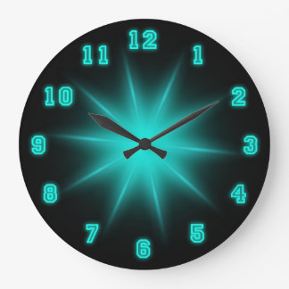 "Blue Neon Star 10.75"" Wallclock"