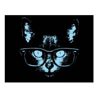 Blue Nerd Cat Post Card