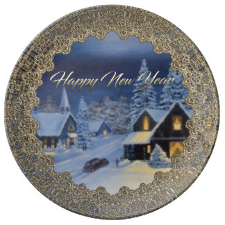 Blue New Year Decor Plate