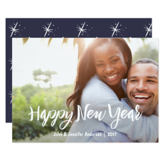 Blue New Year with Photo 13 Cm X 18 Cm Invitation Card