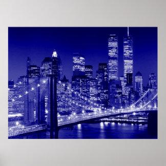 Blue New York City Night Art Poster