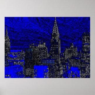 Blue New York City Night Artwork Poster