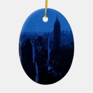 Blue New York City Night Ceramic Oval Decoration