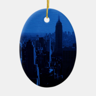 Blue New York City Night Christmas Ornament