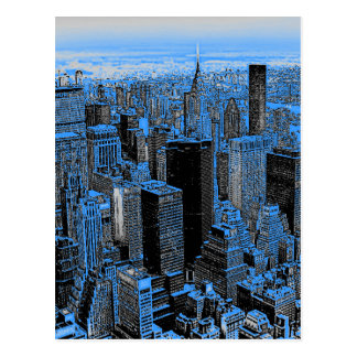 Blue New York City Night Post Card