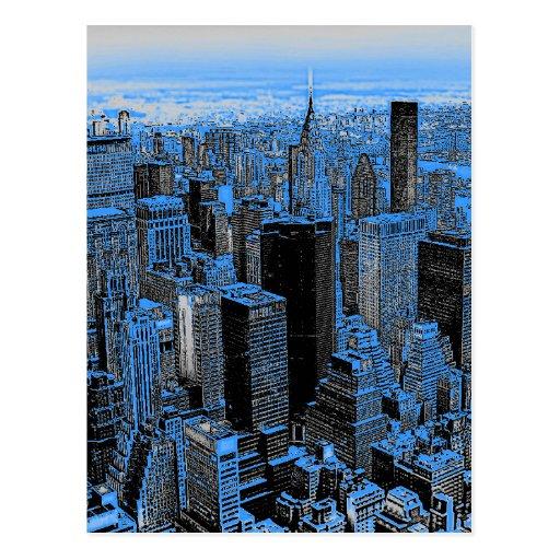Blue New York City Night Post Card