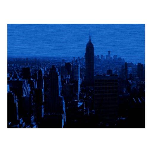 Blue New York City Night Postcards