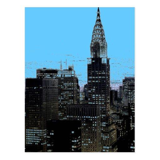 Blue New York City Night Post Cards