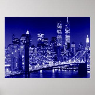Blue New York City Night Poster