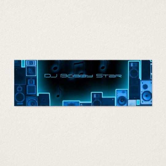 Blue night DJ businesscard Mini Business Card