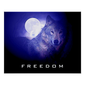 Blue Night Freedom Wolf Face Moon Poster