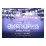 blue night & garden lights rustic wedding personalized announcements