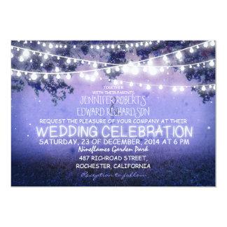 blue night & garden lights rustic wedding 5x7 paper invitation card