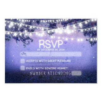 blue night & lanterns rustic wedding RSVP 3.5x5 Paper Invitation Card