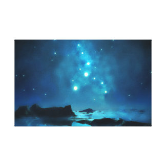 Blue Night Sky Star Cluster Canvas Print