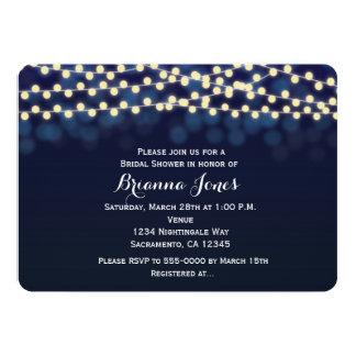 Blue Night Sky String Lights Wedding Invitation