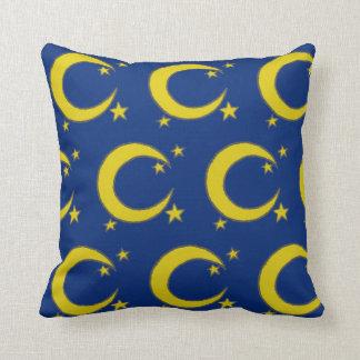Blue Night Sky Yellow Moon Stars Astronomy Cushion