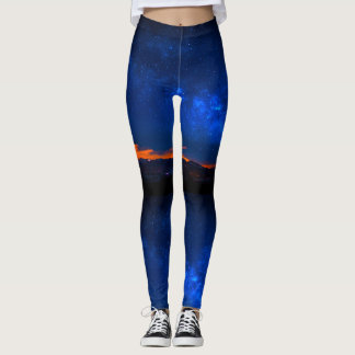 Blue Night Sunset Galaxy Leggings