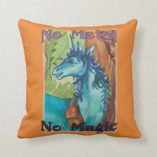 Blue - No Metal No Magic - Throw Pillow