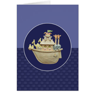 Blue Noah's Ark Greeting Card