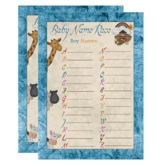 Blue Noah's Ark Name Race Baby Shower Games Card