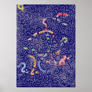 Blue Noodle Doodle Poster