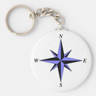 Blue North Arrow Keychain