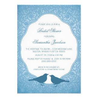 Blue Nouveau Floral Frame Bridal Shower Invite
