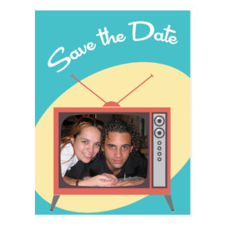 Blue  Now Presenting Save the Dates Postcard