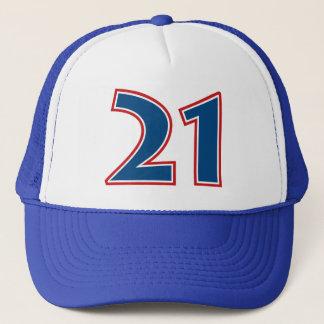 Blue Number 21 Trucker Hat