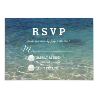 Blue Ocean Beach Destination Wedding RSVP 9 Cm X 13 Cm Invitation Card