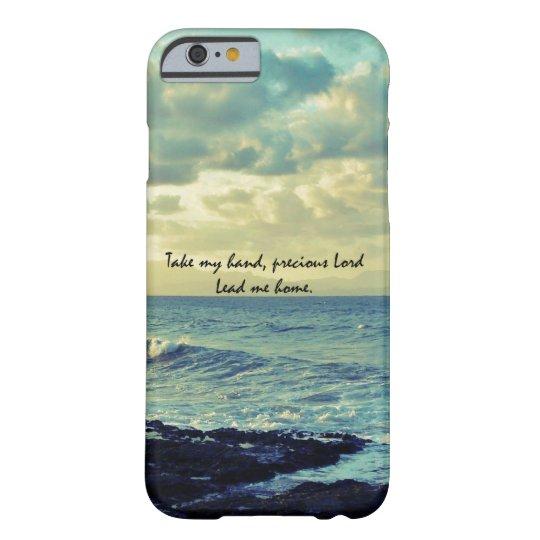 Blue Ocean Coast with Christian Hymn Lyric Barely