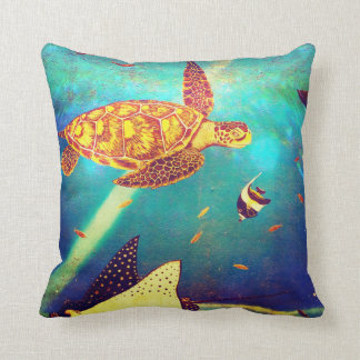 Blue Ocean Colorful Sea Turtle Painting Cushion