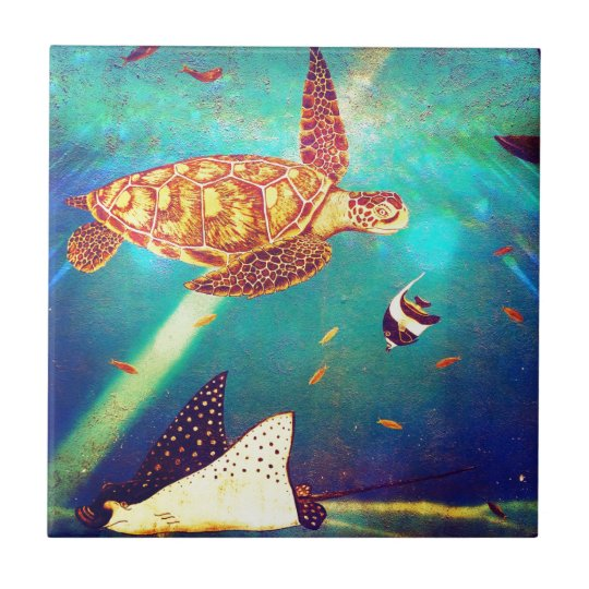 Blue Ocean Colourful Sea Turtle Painting Tile