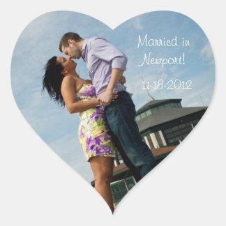 Blue Ocean   Couples Wedding Heart Stickers