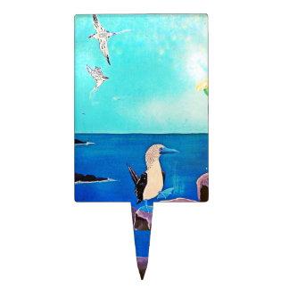Blue Ocean Flying Birds Painting Cake Picks
