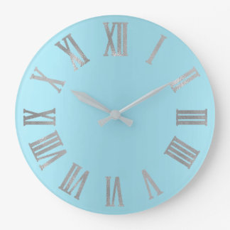 Blue Ocean Gray Minimal Metallic Roman Numers Large Clock