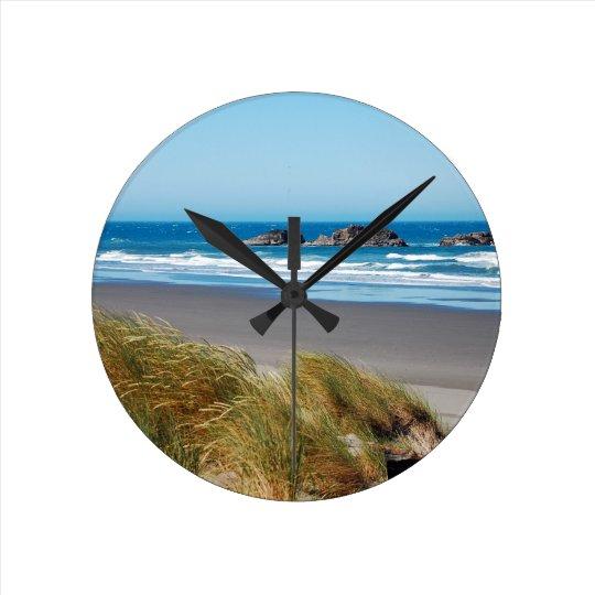 Blue ocean landscape in summer round clock