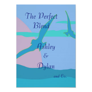 Blue Ocean Paradise Theme Blended Family Wedding Card
