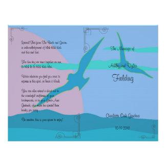 Blue Ocean Paradise Theme Wedding Program 21.5 Cm X 28 Cm Flyer