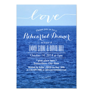 Blue Ocean Script Love Rehearsal Dinner 13 Cm X 18 Cm Invitation Card