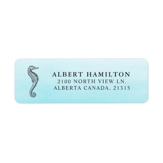 Blue Ocean Seahorse | Personalised Return Address